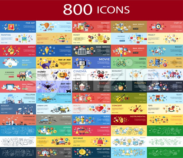 Digital vector 800 color icons set collection flat style