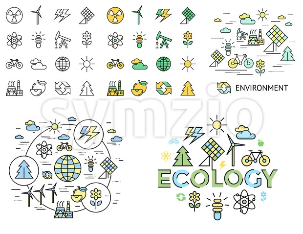 Digital vector yellow green ecology icons with drawn simple line art info graphic, presentation with recycle, production and alternative energy Stock Vector