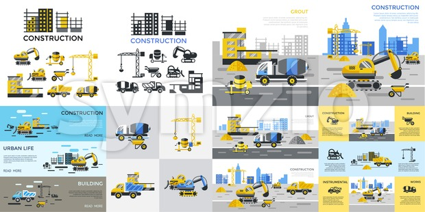 Digital vector yellow construction building tracks icons with drawn simple line art info graphic, presentation with crane, grout, excavator and ...