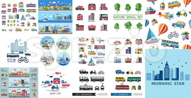 Digital vector blue red yellow city transport icons set with drawn simple line art info graphic, presentation with car, tram ...