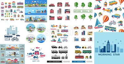 Digital vector blue red yellow city transport icons set with drawn simple line art info graphic, presentation with car, tram and taxi elements around Stock Vector