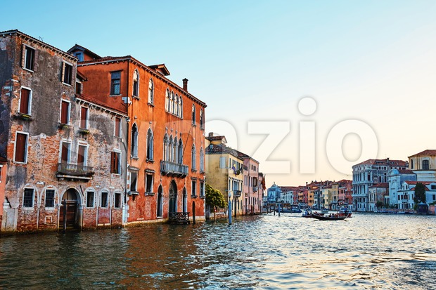 Colorful buildings on water cityscape in Venice, Italy. Place for text