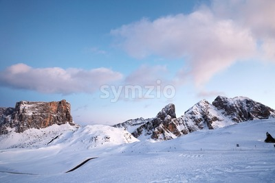 Giau Pass in winter season at pink sunset. Italy beauties Stock Photo