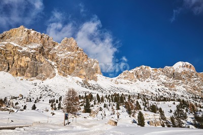 Dolomites mountains covered in snow in winter season. Province of Belluno, Italy Stock Photo