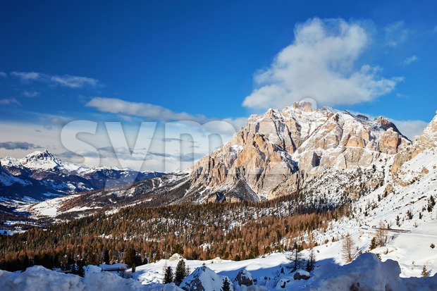 Dolomites mountains covered in snow in winter season. Province of Belluno, Italy