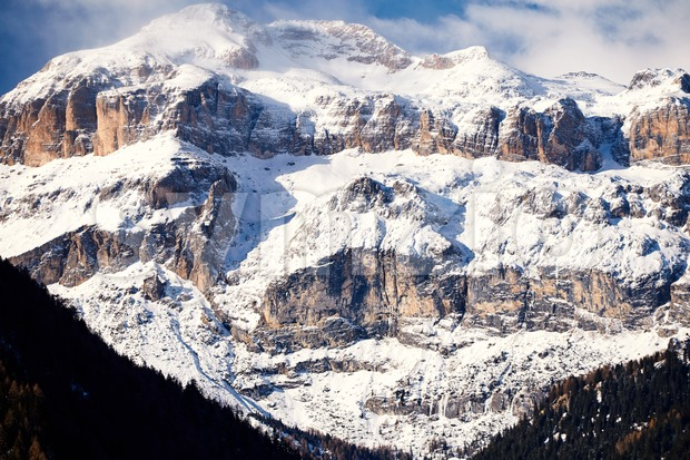 Piz Boe mountain covered in snow. Dolomite, Italy Stock Photo