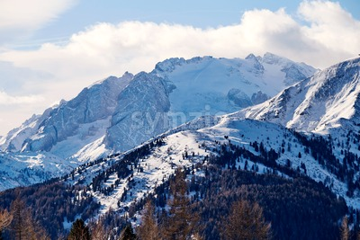 Marmolada mountain covered in snow in Italy Stock Photo