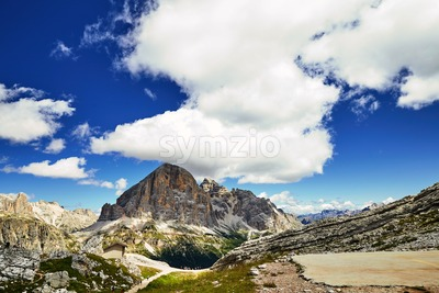 Cortina d'Ampezzo mountains at daylight. Cloudy sky on background. Italy Stock Photo