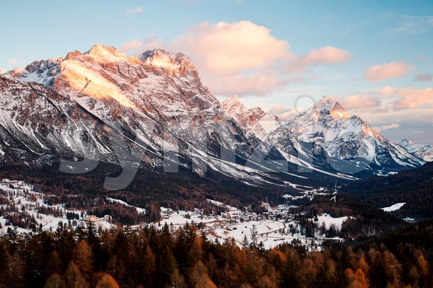 Cortina d'Ampezzo mountains at sunset. Warm colors. Italy Stock Photo