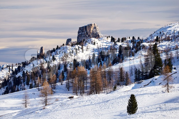 Cinque Terre mountains covered in snow at daylight. Italy Stock Photo
