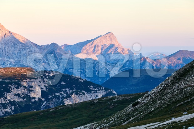 Tre Cime di Lavaredo peak at sunset. Italy