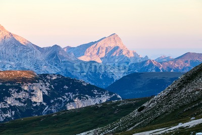 Tre Cime di Lavaredo peak at sunset. Italy Stock Photo