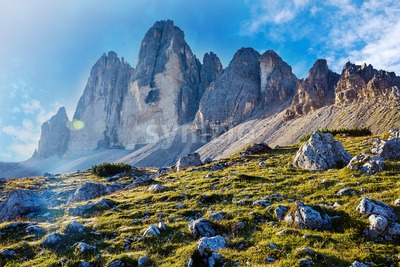 Tre Cime di Lavaredo peak at daylight. Italy Stock Photo