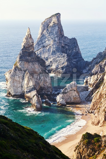 Ursa Beach from top view. Lisbon, Portugal Stock Photo