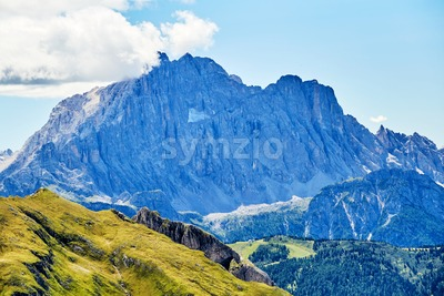 Giau Pass mountains at daylight. Clear sky. Italy Stock Photo