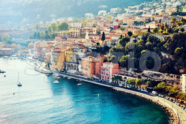Nice colorful city buildings at daylight. France beauties Stock Photo