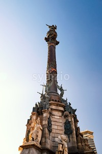 Columbus Monument at sunset. Clear sky on background, Barcelona, Spain Stock Photo