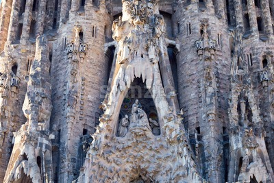 Sagrada Familia facade at sunset, Barcelona, Spain Stock Photo