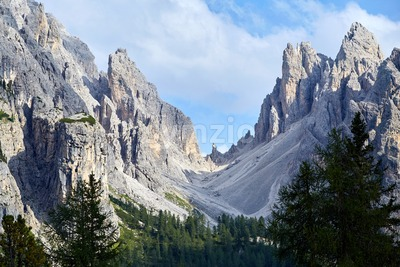 Tre Cime di Lavaredo mountain at daylight. Dolomites, Italy Stock Photo
