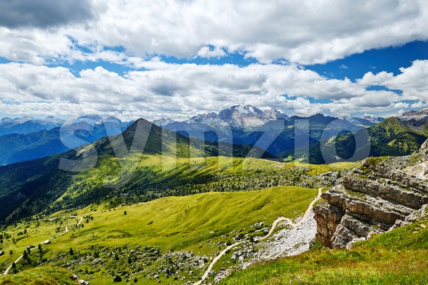 Giau Pass mountains at daylight. Cloudy sky on background. Italy Stock Photo