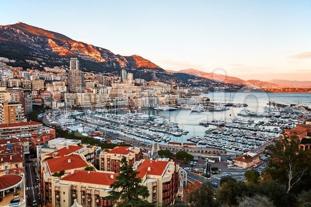 Monaco city and port at sunset. Wide shot Stock Photo