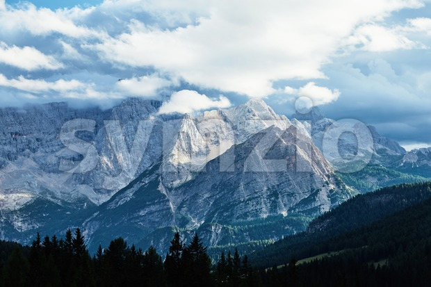 Cristallo mountain at daylight. Cloudy sky. Italy Stock Photo