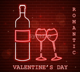 Neon Valentine day card with wine bottle and glasses Vector. Red romantic dinner symbol in neon light. Valentine day celebrate. Modern graphic brick Stock Vector
