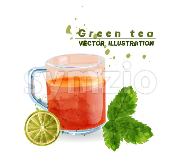 Green tea cup watercolor Vector. Aromatic tea icon template isolated