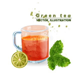 Green tea cup watercolor Vector. Aromatic tea icon template isolated Stock Vector