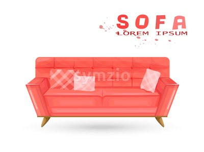 Red vintage sofa in watercolor Vector. Couch isolated on white Stock Vector