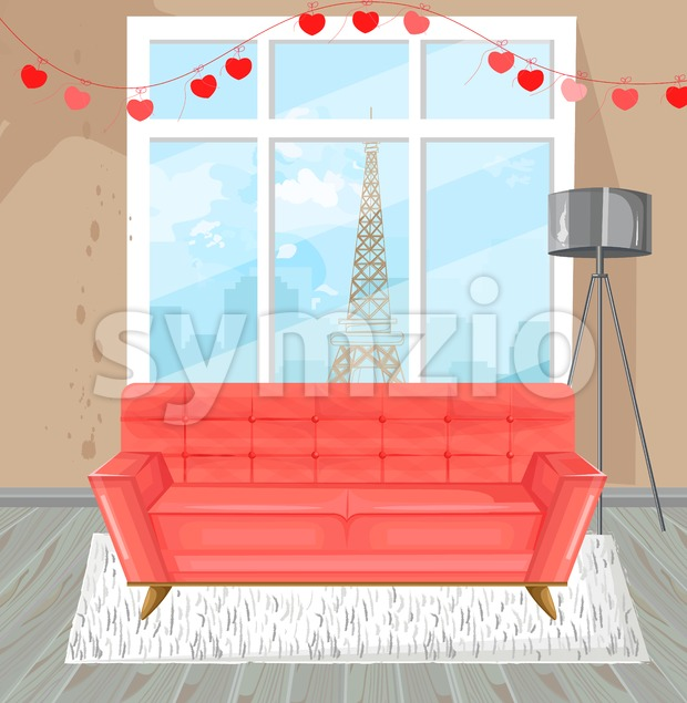 Living room red sofa watercolor Vector. Couch and Paris view from the window