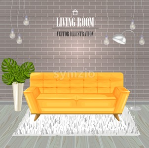 Modern Living room yellow sofa watercolor Vector. Interior design template Stock Vector