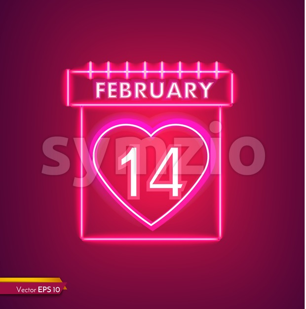 14 february calendar in neon light Valentine day card Vector. Red romantic symbol neon light Vector. Valentine day celebrate. Modern graphic template Stock Vector