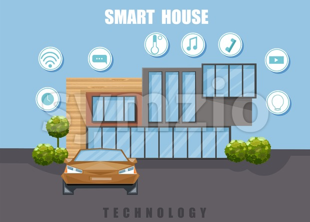 Smart House Vector flat style. Utilities icons. Architecture home facade. Sale advertise brochure template Stock Vector