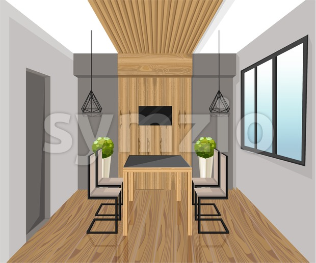 Interior design loft style Vector. Dining table. Wood panel decor. Sale advertise brochure template Stock Vector