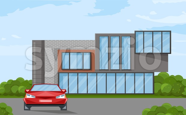Architecture house facade. Real estate sale advertise brochure template