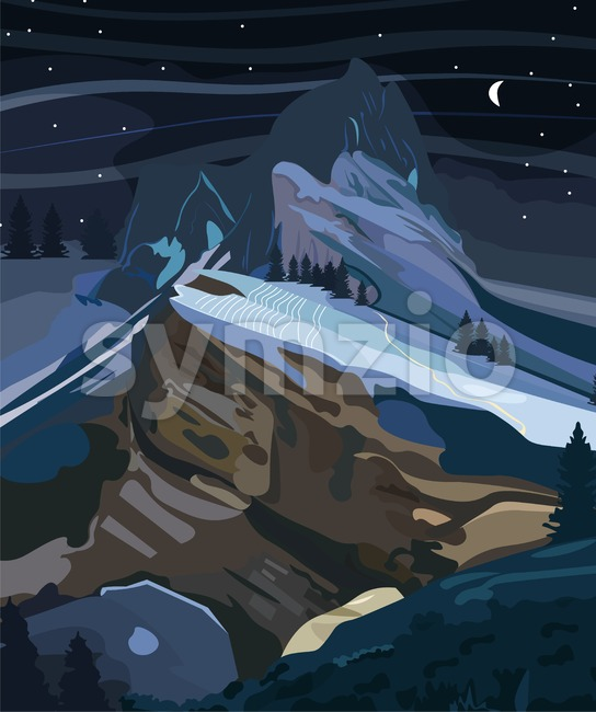 Mountains background at night Vector. Nature dark poster Stock Vector