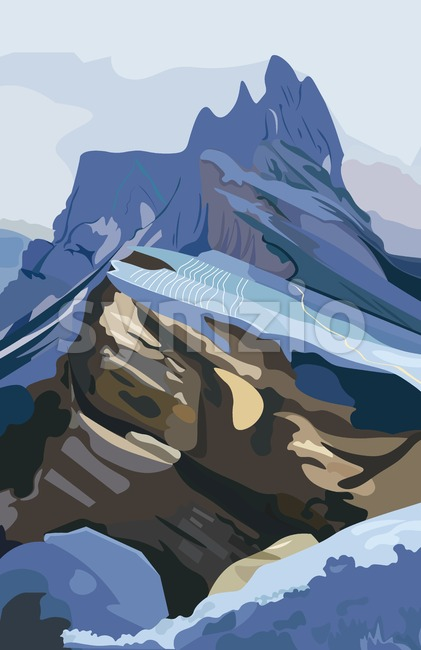 Mountains background Vector. Nature detailed illustration hills environment Stock Vector