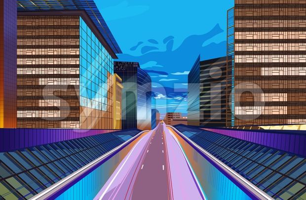Road at night city scape Vector. Buildings lights background. Modern city highway illustration