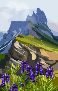 Lavender and mountains hills Vector illustration. Nature background Stock Vector