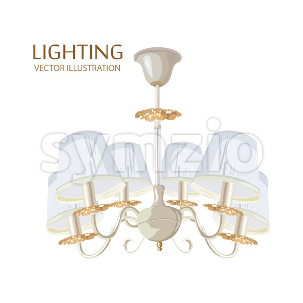 Rich Classic chandelier Vector watercolor. Luxury decor accessory design Stock Vector