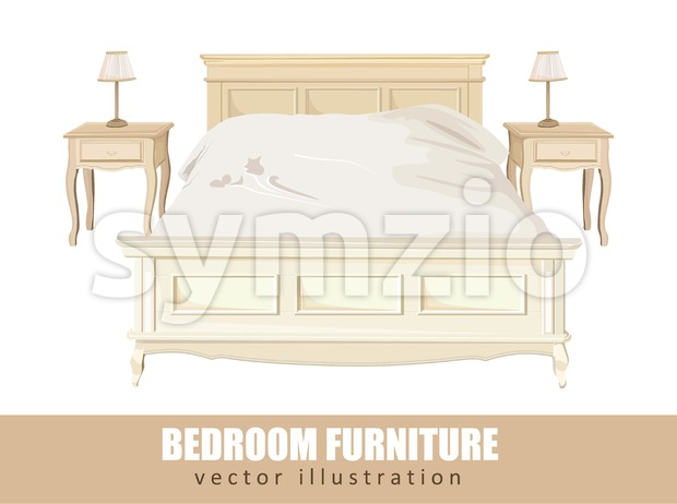 Classic bedroom furniture Vector watercolor. Interior design decorations template