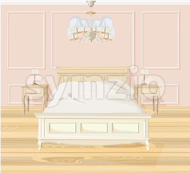 Classic bedroom Vector watercolor. White bed furniture. Interior design decoration