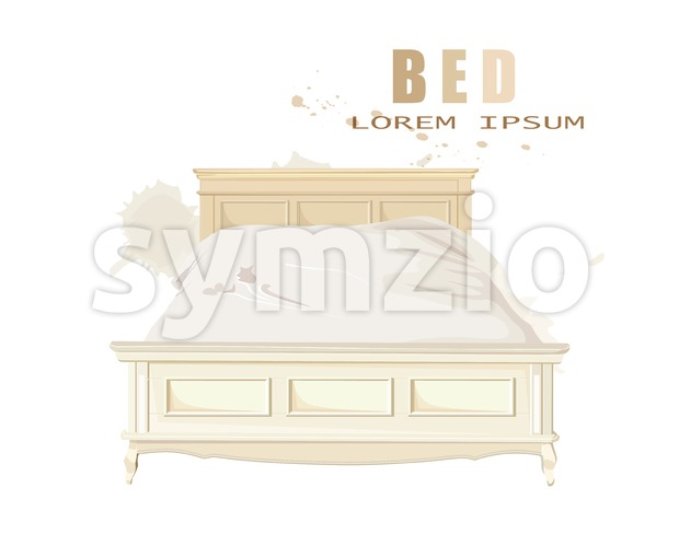Classic bedroom furniture isolated Vector watercolor. Interior design decorations template