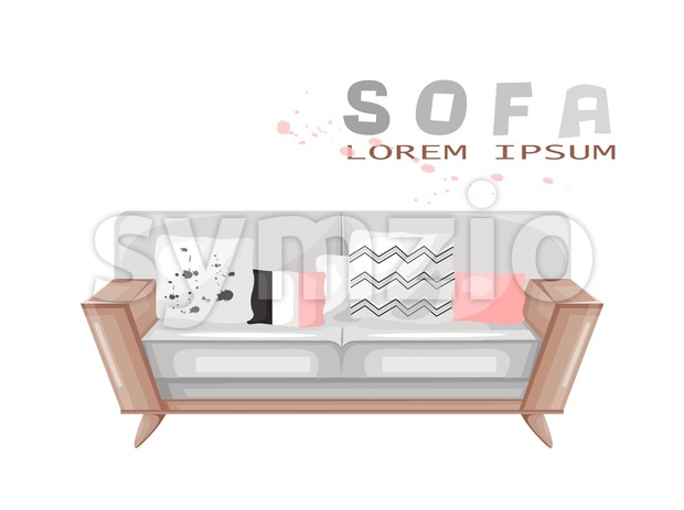 Modern sofa isolated Vector. Furniture icon design. Sale decorations. Stock Vector