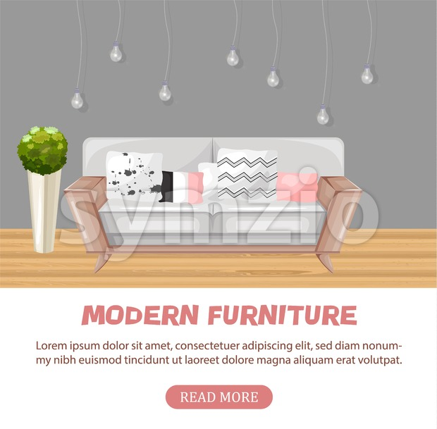 Modern sofa isolated Vector. Furniture icon design. Sale interior decorations Stock Vector