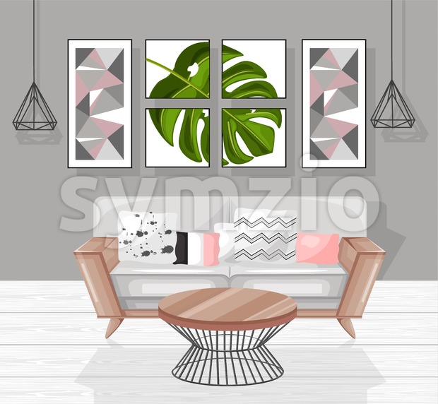 Living room interior design Vector. Modern decorations. Flat style