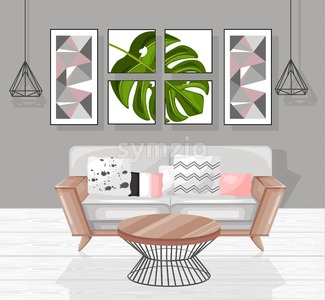 Living room interior design Vector. Modern decorations. Flat style Stock Vector