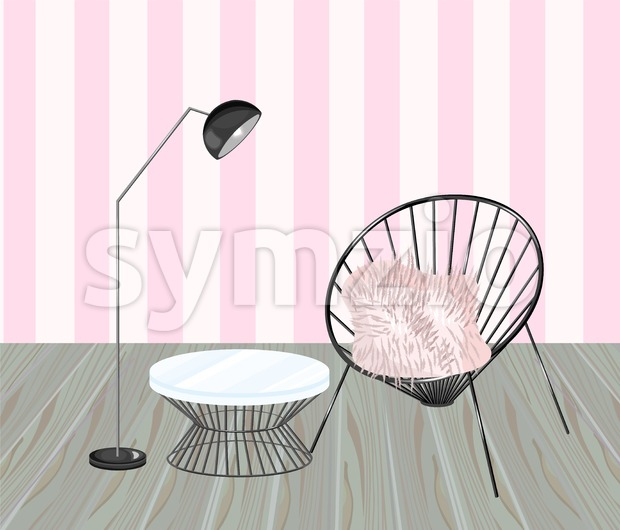 Armchair and table. Striped background. Living room design Vector. Modern decorations. Flat style