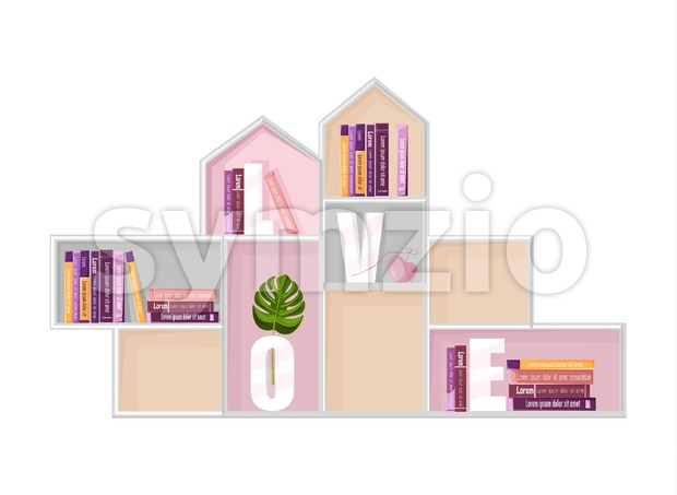 Abstract shelf books decor Vector. Modern design. Flat style Stock Vector